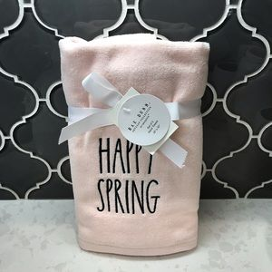 Rae Dunn HAPPY SPRING Pink Hand Towels